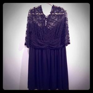 Womens black lace, knee length dress